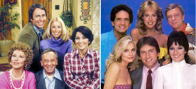 The full cast of Three's Company, early and late.