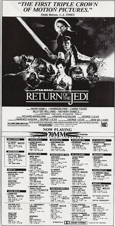 A newspaper ad for Return of the Jedi